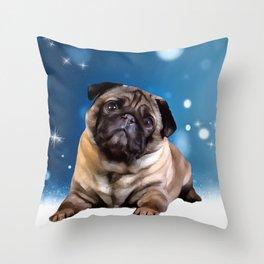 A Pug for Christmas. (Painting) Throw Pillow