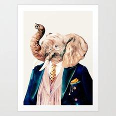 Elephant Cream Art Print