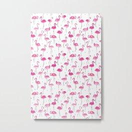 Watercolour Flamingoes Metal Print