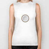 coconut wishes Biker Tanks featuring Coconut print by Strange Fruit