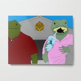 Lizard Gossip Metal Print