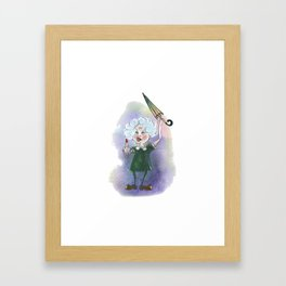 Furious old lady with umbrella. Framed Art Print