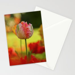 Tender Young Parrot Tulip in the Garden in Spring Stationery Cards