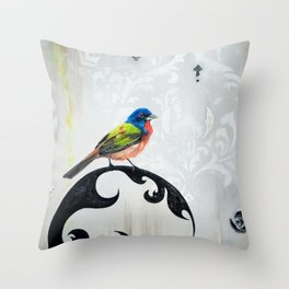Bird - Painted Bunting Silver Haze Throw Pillow