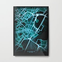 Elizabeth, NJ, USA, Blue, White, Neon, Glow, City, Map Metal Print