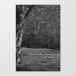 Tree Swing bw Canvas Print