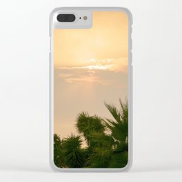 cloudy sky in the oasis Clear iPhone Case