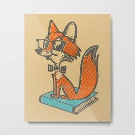 Fox Librarian - A Well Read Fox Metal Print