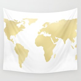 Gold Rush Map of the World Wall Tapestry