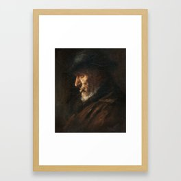 Jozef Israels (attributed) 1824 Groningen - Den Haag 1911 Portrait of an old fisherman Framed Art Print