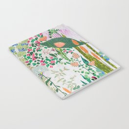 Painterly Floral Jungle on Pink and White Notebook