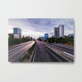 Motorway in Madrid at sunset Metal Print