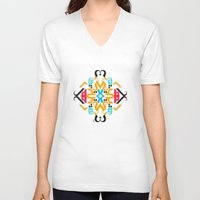 arabic V-neck T-shirts featuring Orange Arabic by Farah Saheb