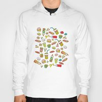 junk food Hoodies featuring Awesome retro junk food icons by Little Smilemakers Studio