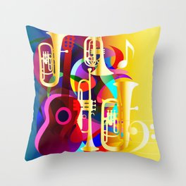 Colorful music instruments with guitar, trumpet, musical notes, bass clef and abstract decor Throw Pillow