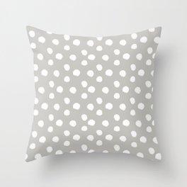 Brushy Dots - Gray Throw Pillow