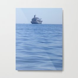 Cruise Ship Sails Along a Peaceful, Rolling Sea Metal Print