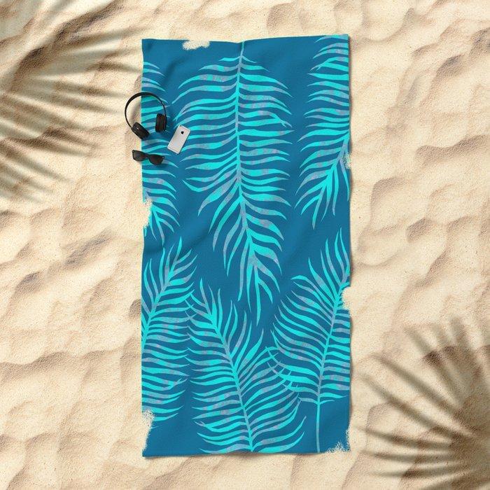 Fern Pattern On Blue Background Beach Towel