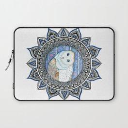 Winter Barn Owl Mandala Laptop Sleeve