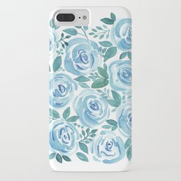 Pale blue roses . Watercolor . iPhone Case