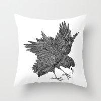 alisa burke Throw Pillows featuring Alisa The Bird - Illustration by Carlos Rascón Paper Art & Illustration
