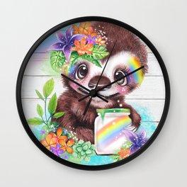 Catching Rainbows Sloth Wall Clock