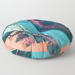 Wild [7]: a bold, colorful abstract mixed-media piece in teal, orange, neon blue, pink and white Floor Pillow