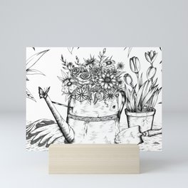Flowering Watering Can Mini Art Print