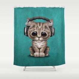 Cute Kitten Dj Wearing Headphones on Blue Shower Curtain