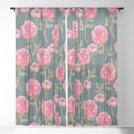 Pink Peonies On Green Background Sheer Curtain