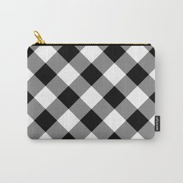 Gingham Plaid Black & White Carry-All Pouch
