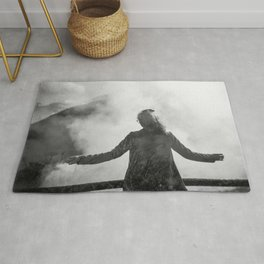 Ghost of Owakudani Mountain in Japan - Black & White Photography Rug