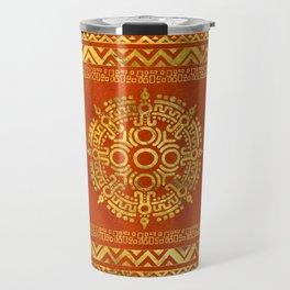 Gold Aztec Calendar Sun symbol Travel Mug