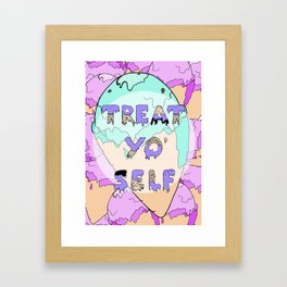TREAT YO' SELF ice-cream print  Framed Art Print