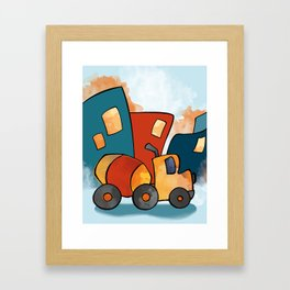 Cement Mixer, Construction Truck, Perfect for Child's Bedroom or Kid's Playroom Framed Art Print
