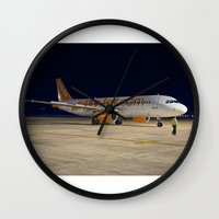 airplane Wall Clocks featuring Airplane by cjsphotos