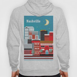 Nashville, Tennessee - Skyline Illustration by Loose Petals Hoody