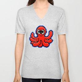 8-Bit Pixel Art Octopus Funny Pixelart Design Unisex V-Neck