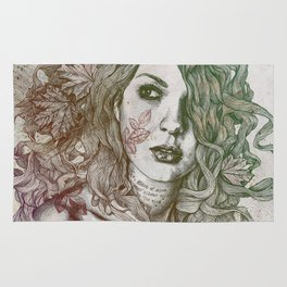 Wake: Autumn (street art woman with maple leaves tattoo) Rug
