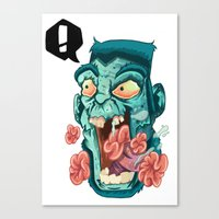 zombie Canvas Prints featuring Zombie. by Rachel Alderson