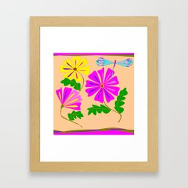 Three Summer Flowers with a Damselfly Framed Art Print