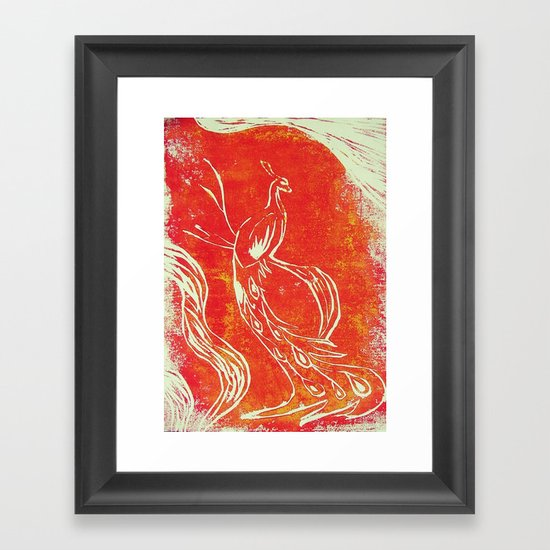 Peacock of Fire Framed Art Print