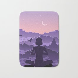 Meditation in the mountains Bath Mat