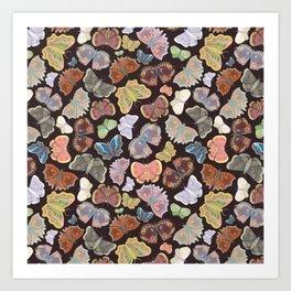 Moths Pattern - Dark Brown Art Print
