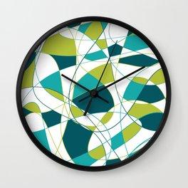 Modern Abstract Retro Green and Teal Art Wall Clock