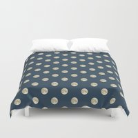 polka dot Duvet Covers featuring Full Moon Polka Dot by Paula Belle Flores