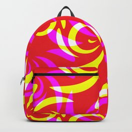 Pattern of yellow and purple doodles and curls in floral ornament in ethnic style on a red backgroun Backpack