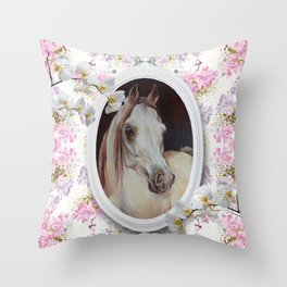White orchids & Arabian mare Throw Pillow