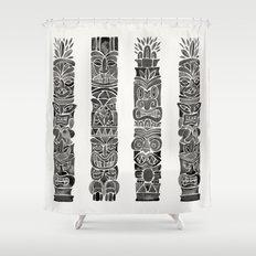 Tiki Totems – Black Shower Curtain