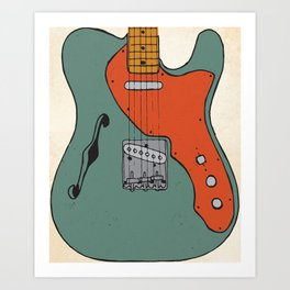 Vintage Electric Guitar Illustration Art Print